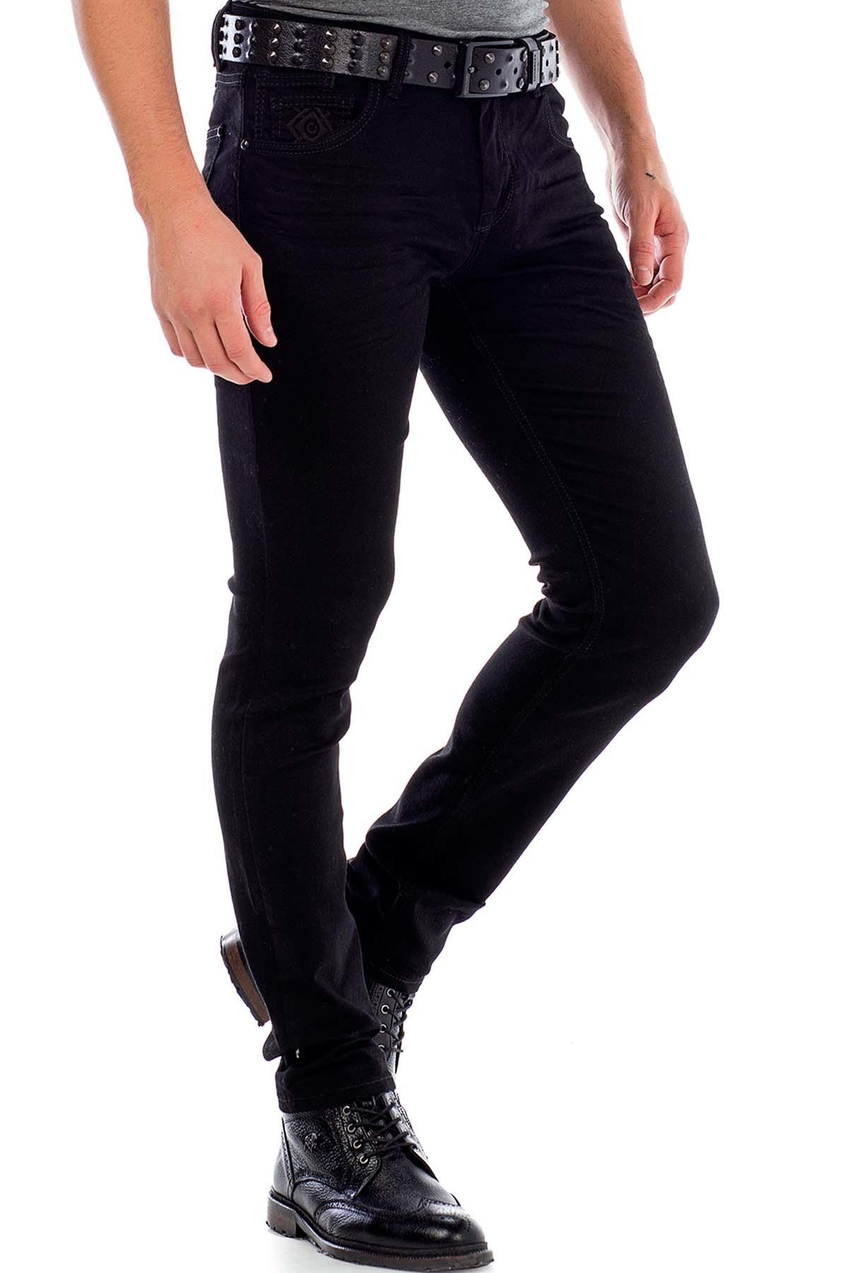 Cipo & Baxx - CD319A Siyah Slim Fit Rahat Erkek Jean Kot Pantolon