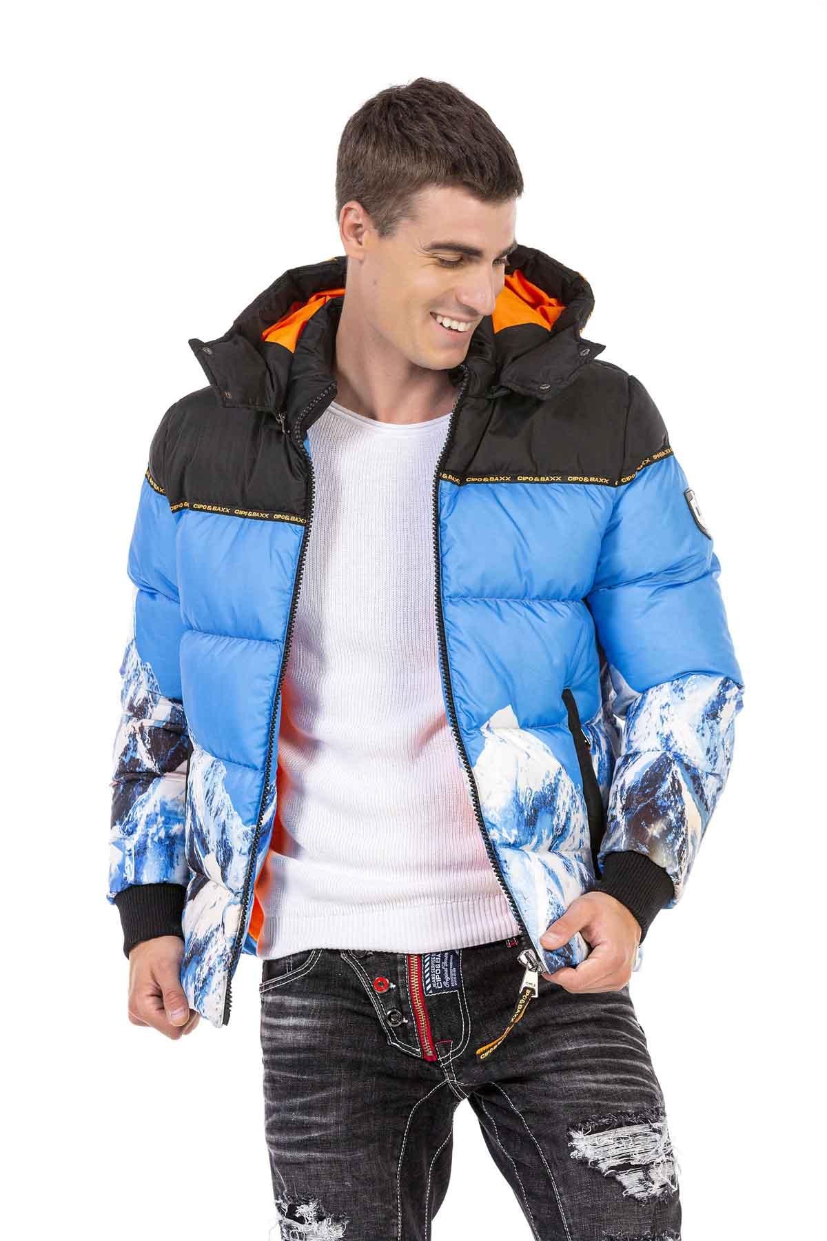 CIPO & BAXX - CM180 Desenli Mavi Kışlık Mont